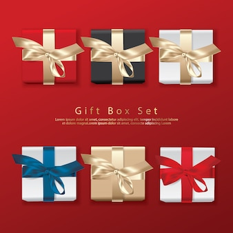 Set of gift box top view realistic illustration