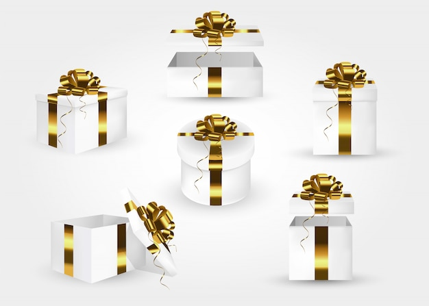 Set of gift boxes. collection of 3d gift boxes with  gold satin bows