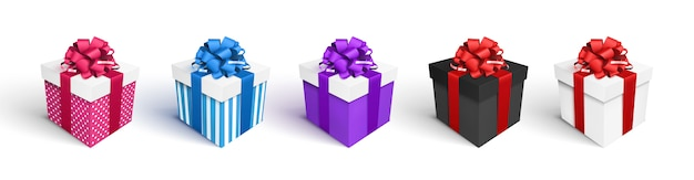 Set of gift boxes isolated on white