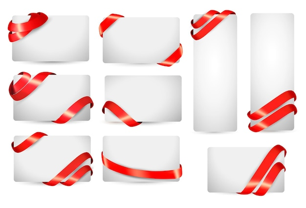 Set of gift card notes with red ribbons.