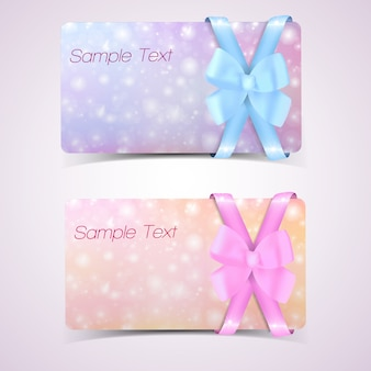 Set of gift cards with bow