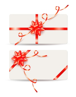 Set of gift cards with red bows and ribbons
