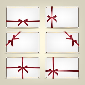 Set of gift cards with ribbons.  background or template.