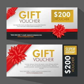 Set gift coupon with ribbon