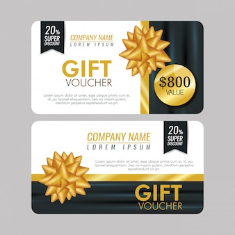 Set gift coupon with special sale and ribbon bow Free Vector