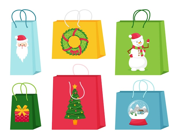 A set of gift or shopping bags with christmas elements. cute illustrations with characters and symbols of christmas. isolated vector illustrations on a white background.