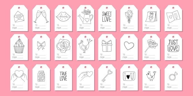 A set of gift tags with doodle elements. valentine's day
