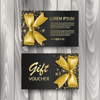 Set of gift voucher card template advertising or sale template with glitter texture and realistic bow illustration