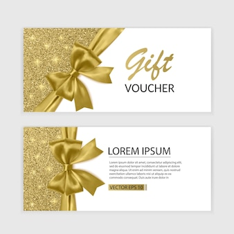 Set of gift voucher card template, advertising or sale. template with glitter texture and realistic bow illustration,