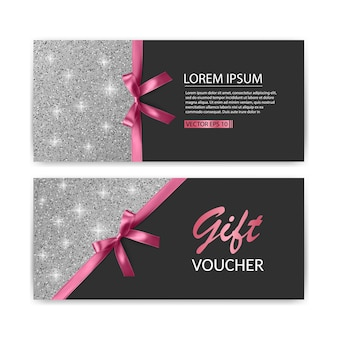 Set of gift voucher card template,   sale. template with glitter texture and realistic bow illustration