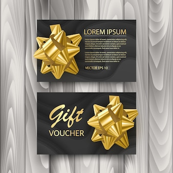 Set of gift voucher card template template and realistic bow