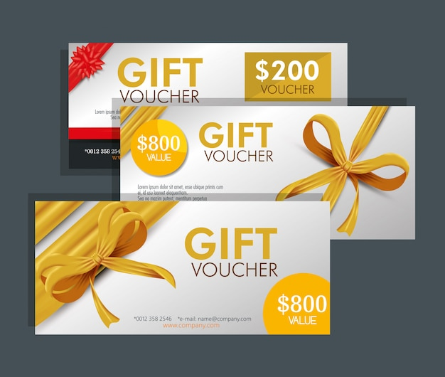 Set of gift voucher card with special discount