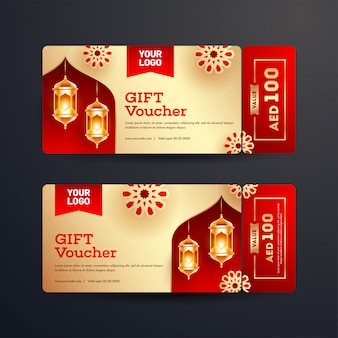 Set of gift voucher or coupon layout with best offers and illumi