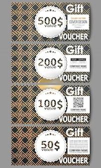 Set of gift voucher templates. islamic gold pattern