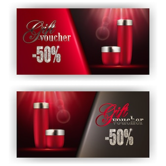 Set of gift vouchers with bottles face lotion
