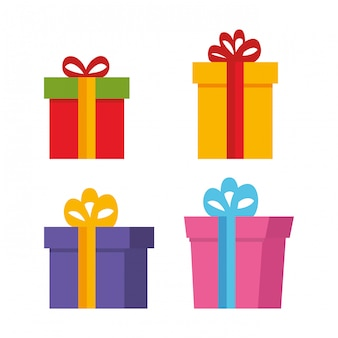 Set gifts presents icons