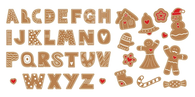 A set of ginger biscuits. alphabet.