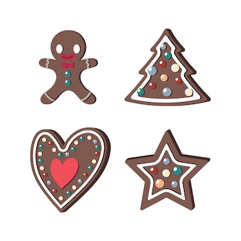 Set of gingerbread cookies of different shapes