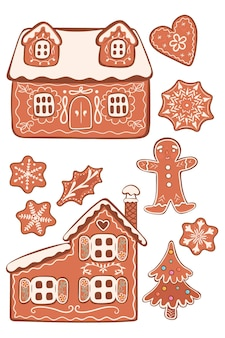 Set of gingerbread cookies isolated