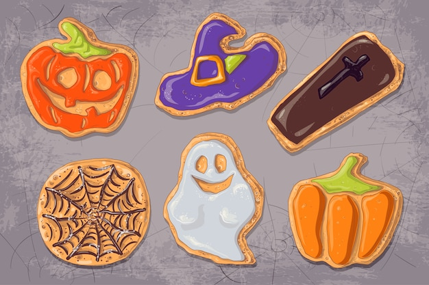 A set of gingerbread cookies on the theme of halloween.