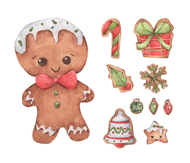 Set of gingerbread cute cookies. watercolor illustration.
