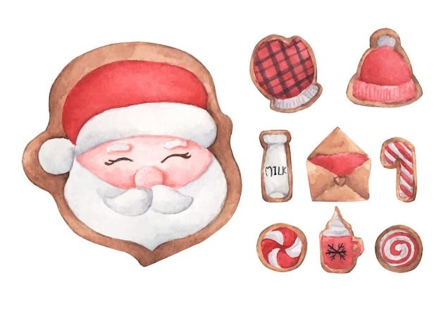 Set of gingerbread cute cookies. watercolor illustration.