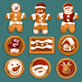 Set of gingerbread man