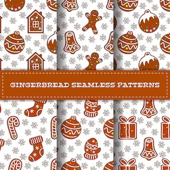 Set of gingerbread seamless patterns