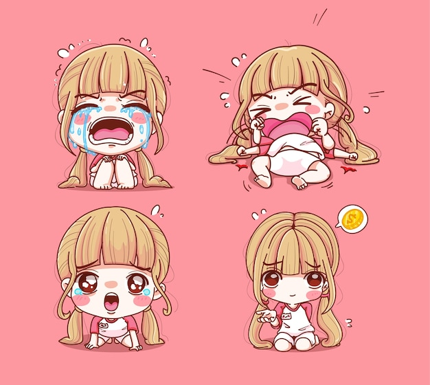 Set of girl crying and sad isolated on pink
