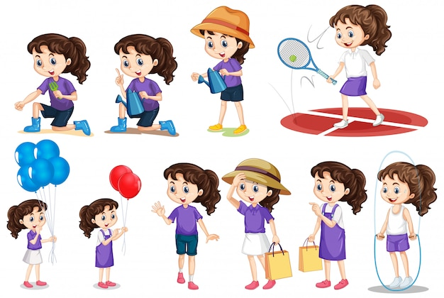 Set of girl doing different activities on isolated