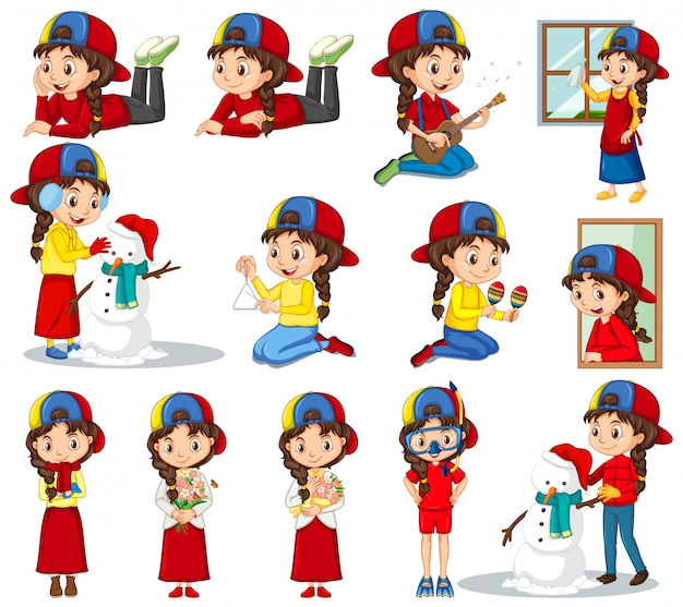 Set of girl doing different activities