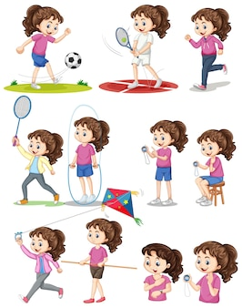 Set of girl doing different types of sports