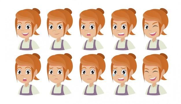 Set of girl emotions.