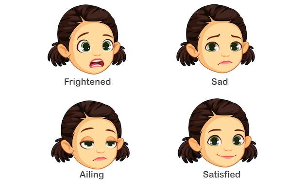 Set of girl facial expressions