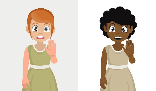 Установите знак остановки руки девушки, векторные иллюстрации