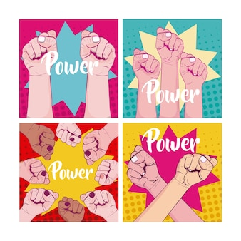 Set of girl power cards on memphis style
