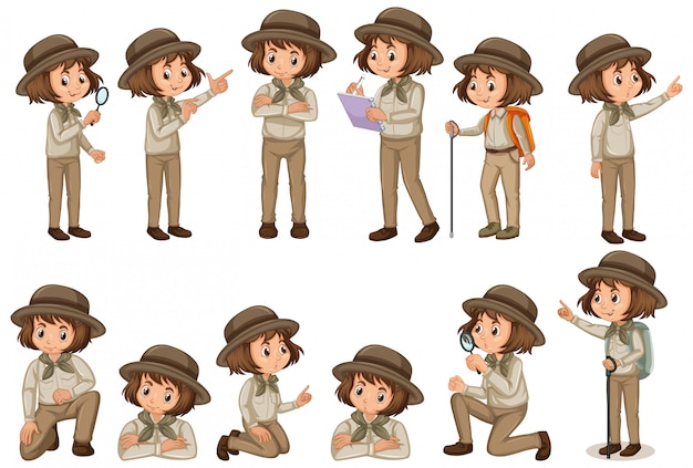 Set of girl in safari outfit doing different poses