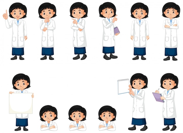 Set of girl in science gown doing different poses on white