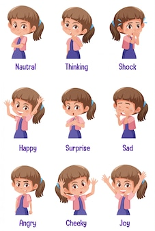 Set of girl with different expressions on her face