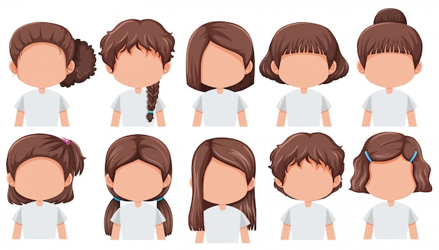 Set of girl with different hairstyle