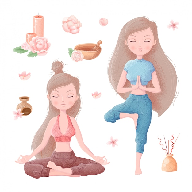 Set of girl in yoga asanas and accessories for ayurveda and peony flowers