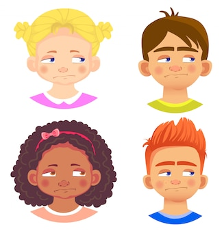 Set of girls and boys characters