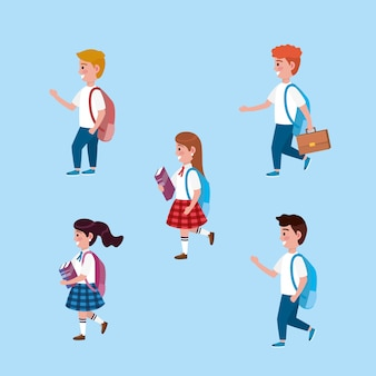 Set of girls and boys students with backpack and books