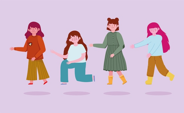 Set of girls cartoon characters female with shadow  illustration