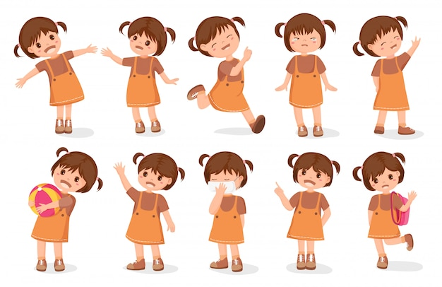 Set girls characters cartoon style