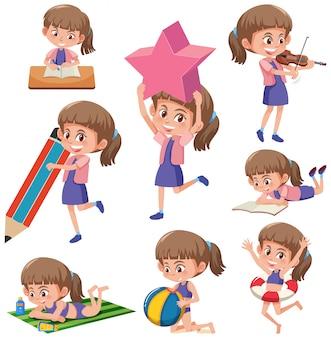 Set of girls doing activitys
