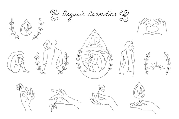 Set of girls poses, hands and elements for design. concept of loving your body, taking care of your body. line style. isolated. logo for spa salon, eco cosmetics.