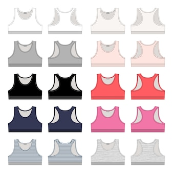 Set of girls technical sketch sports bra.