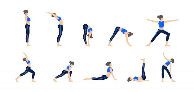 Set of girls in various poses of yoga. different exercise illustration