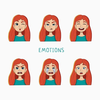 A set of girls with different emotions. vector illustration